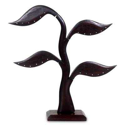 Wood earring tree, 'Daun Salam in Black' - Bayleaf Earring Stand Sculpture Hand-carved Wood