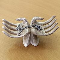 Wood jewelry holders, 'Gratitude' - Vintage White Wood Hands Jewelry Holder