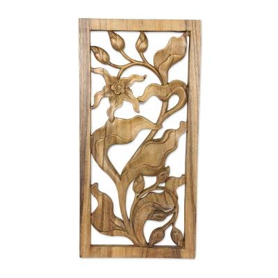 Wood relief panel, 'Bali Orchid' - Hand Carved Orchid Relief Wall Panel
