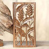 Wood relief panel, 'Balinese Heliconia' - Floral Balinese Relief Panel Hand Carved Wall Sculpture