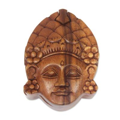 Wood puzzle box, 'Beautiful Dancer' - Balinese Hand Carved Wood Puzzle Box