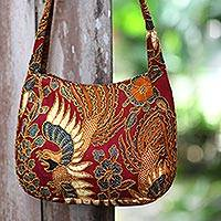 Beaded cotton batik shoulder bag, 'King's Bird' - Beaded Red Cotton Batik Bag