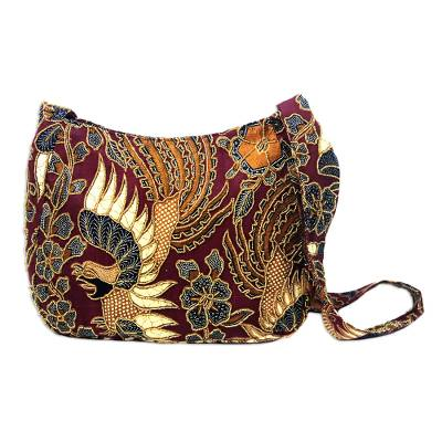 Beaded cotton batik shoulder bag, 'King's Bird' - Beaded Red Cotton Batik Shoulder Bag