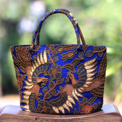 Beaded cotton  batik tote handbag 'Glorious Java' - Beaded Blue Cotton Batik Handbag Hand Crafted in Bali