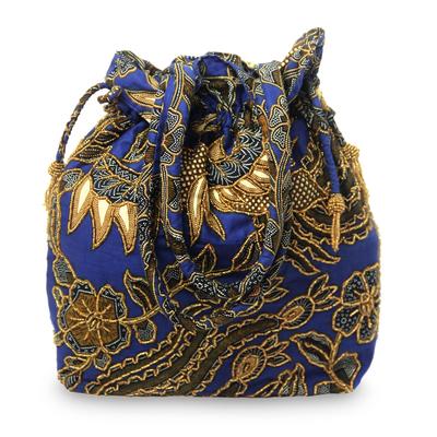 Beaded cotton batik shoulder bag, 'Javanese Bluebird' - Beaded Blue Cotton Batik Shoulder Bag