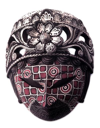 Batik Wood Mask Indonesian Wall Art - Raden Ayu | NOVICA
