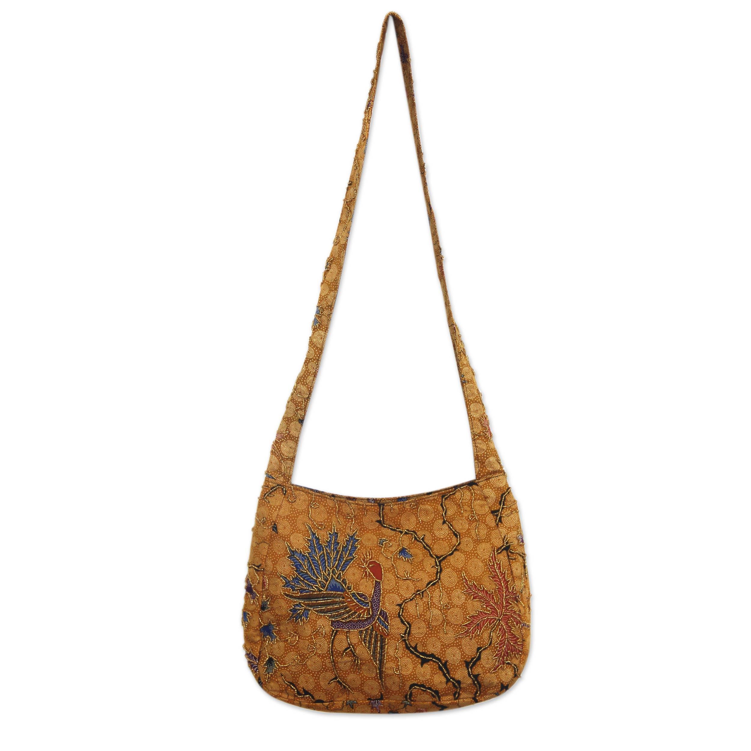 Novica Leather shoulder bag, Peacock Flowers
