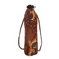 Beaded cotton batik yoga mat bag, 'Java Power' - Handcrafted Cotton Batik Yoga Mat Bag