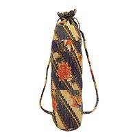 Cotton batik yoga mat bag, 'Banana Blossom' - Cotton Batik Yoga Mat Bag with Floral Motif