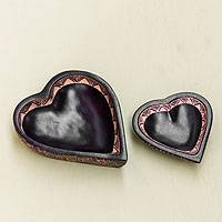 Wood batik bowls, 'Phoenix Heart' (pair) - Wood batik bowls