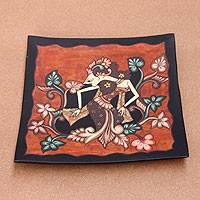Decorative mahogany plate, 'Woman Warrior Srikandi' - Indonesian Decorative Handpainted Plate