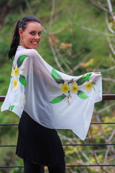Hand painted silk shawl, Yellow Frangipani