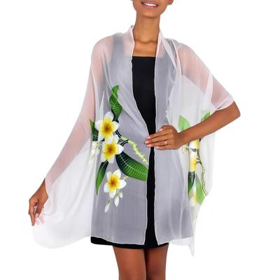 Handpainted Floral Sheer Silk Shawl