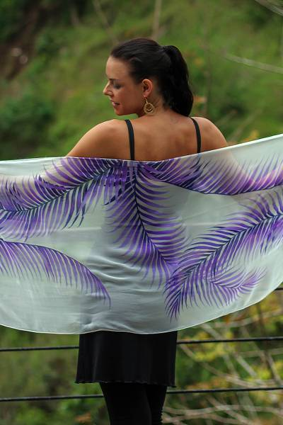 Hand painted silk shawl, Purple Fern Shadow
