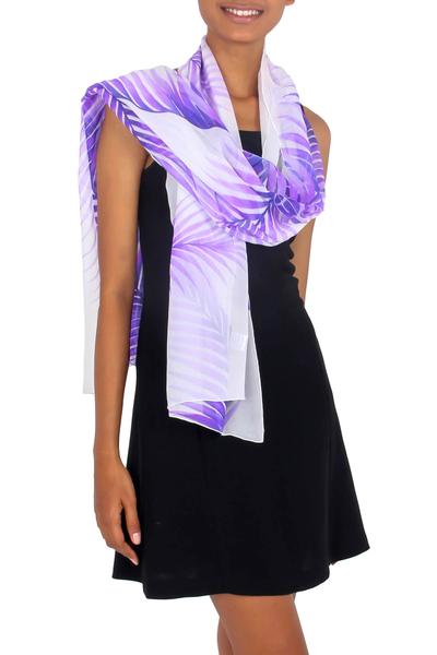 Handpainted Sheer White Silk Shawl with Purple Ferns