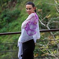 Hand painted silk shawl, 'Lavender Orchid' - Fair Trade Handpainted Silk Chiffon Shawl