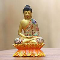 Wood sculpture, 'Beautiful Buddha' - Handpainted Wood Balinese Buddha Sculpture
