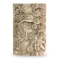 Wood relief panel, 'Elephants in the Wild' - Unique Relief Panel Hand-carved Wood Signed Wall Art
