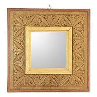 Reversible wood relief panel mirror, 'Matahari Mosaic' - Reversible Wall Panel with Mirror in Hand Carved Wood