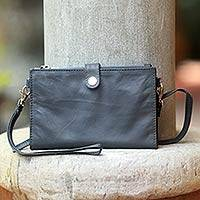 Leather clutch shoulder bag, 'Charcoal Chic' - Leather Shoulder Bag Clutch Wallet
