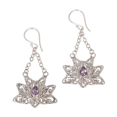 Amethyst dangle earrings, 'Treasured Lotus' - Amethyst flower earrings