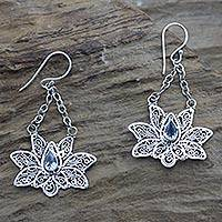 Blue topaz dangle earrings, 'Treasured Lotus' - Blue topaz flower earrings