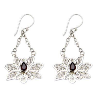 Garnet dangle earrings, 'Treasured Lotus' - Garnet flower earrings