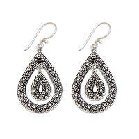 Sterling silver dangle earrings, 'Blossoming Starlight' - Sterling silver dangle earrings