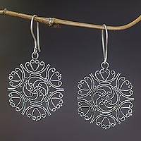 Sterling silver floral earrings, 'Heart of Rose' - Sterling silver floral earrings