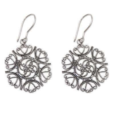 Sterling silver floral earrings, 'Heart of Rose' - Sterling silver floral earrings