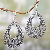 Sterling silver dangle earrings, 'Bali Glam'