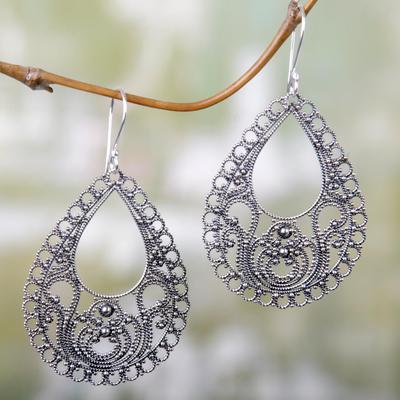 Sterling silver dangle earrings, 'Bali Glam' - Sterling silver dangle earrings