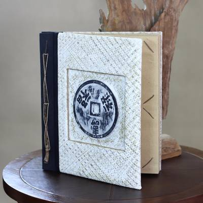 Wood and natural fibers photo album, 'Lucky Coin' (4x6) - Handcrafted Photo Album Natural Fibers 80 Photos (4x6)