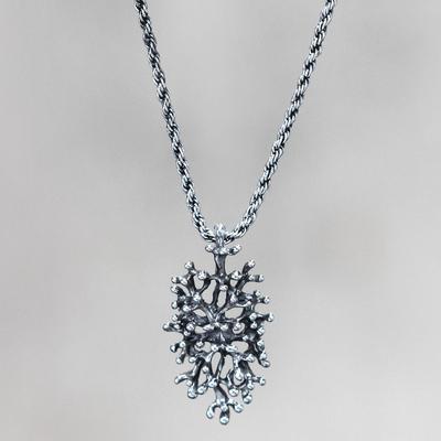 Sterling silver pendant necklace, 'Menjangan Glory' - Fair Trade Sterling Silver Necklace Artisan Jewelry