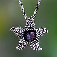 Cultured pearl pendant necklace, 'Menjangan Starfish' - Purple Iridescent Pearl and Sterling Silver Necklace