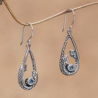 Blue topaz dangle earrings, 'Twin Serpents' - Blue Topaz Snake Earrings from Indonesia