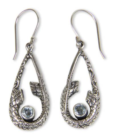 Blue Topaz Snake Earrings from Indonesia
