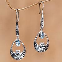 Blue topaz dangle earrings, 'Serene Love' - Silver and Blue Topaz Earrings Balinese HandmadeJewelry