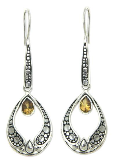 Citrine drop earrings, 'Golden Light' - Silver and Citrine Earrings Balinese Fair Trade Jewelry