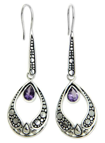 Amethyst dangle earrings, 'Lilac Light' - Silver and Amethyst Earrings Balinese Fair Trade Jewelry