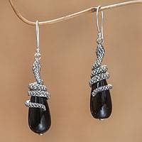 Onyx dangle earrings, 'Black Python' - Save the Wildlife Handmade Silver Balinese Onyx Earrings