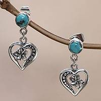 Sterling silver heart earrings, 'Frangipani Hearts' - Fair Trade Recon Turquoise and Sterling Silver Earrings