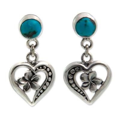 Fair Trade Recon Turquoise and Sterling Silver Earrings