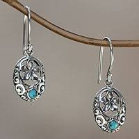 Sterling silver flower earrings, 'Bali Bouquet'
