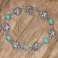 Sterling silver link bracelet, 'Island of Flowers' - Fair Trade Handcrafted Balinese Turquoise Bracelet