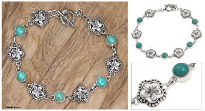 Sterling silver link bracelet, 'Island of Flowers' - Fair Trade Handcrafted Balinese Turquoise Bracelet