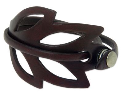 Leather wrap bracelet, 'Lucky Maroon Leaf' - Handcrafted Leather Wrap Bracelet Fair Trade Jewelry