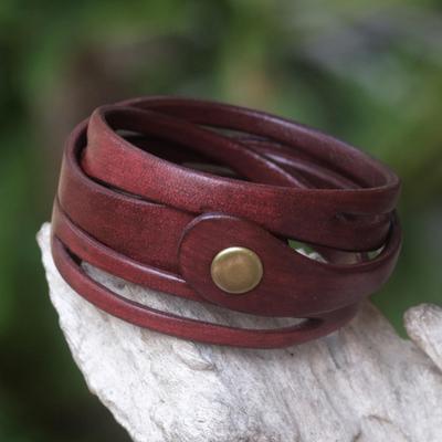 Leather wrap bracelet, 'Crimson Whisper' - Artisan Crafted Red Leather Wrap Bracelet