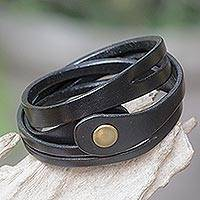 Leather wrap bracelet, 'Black Whisper' - Artisan Crafted Leather Wrap Bracelet from Bali