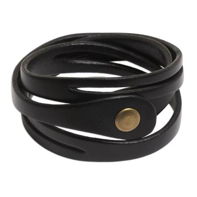 Artisan Crafted Leather Wrap Bracelet from Bali